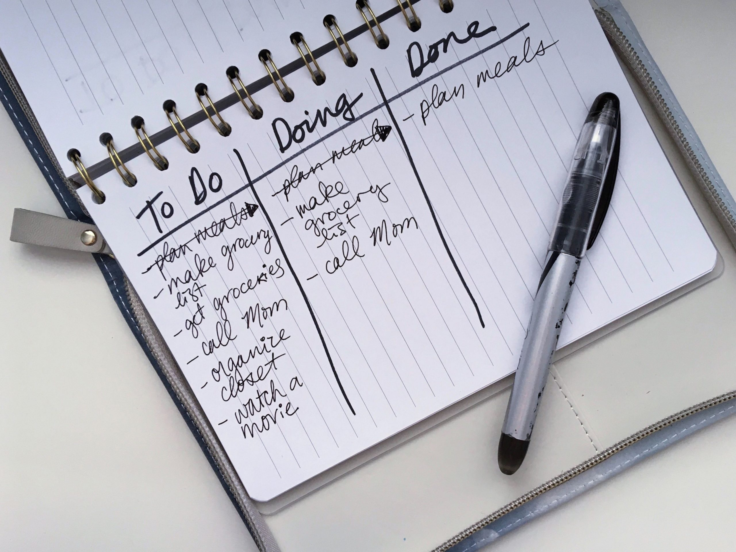 A notebook with the headings to do, doing and done, and lists under each.
