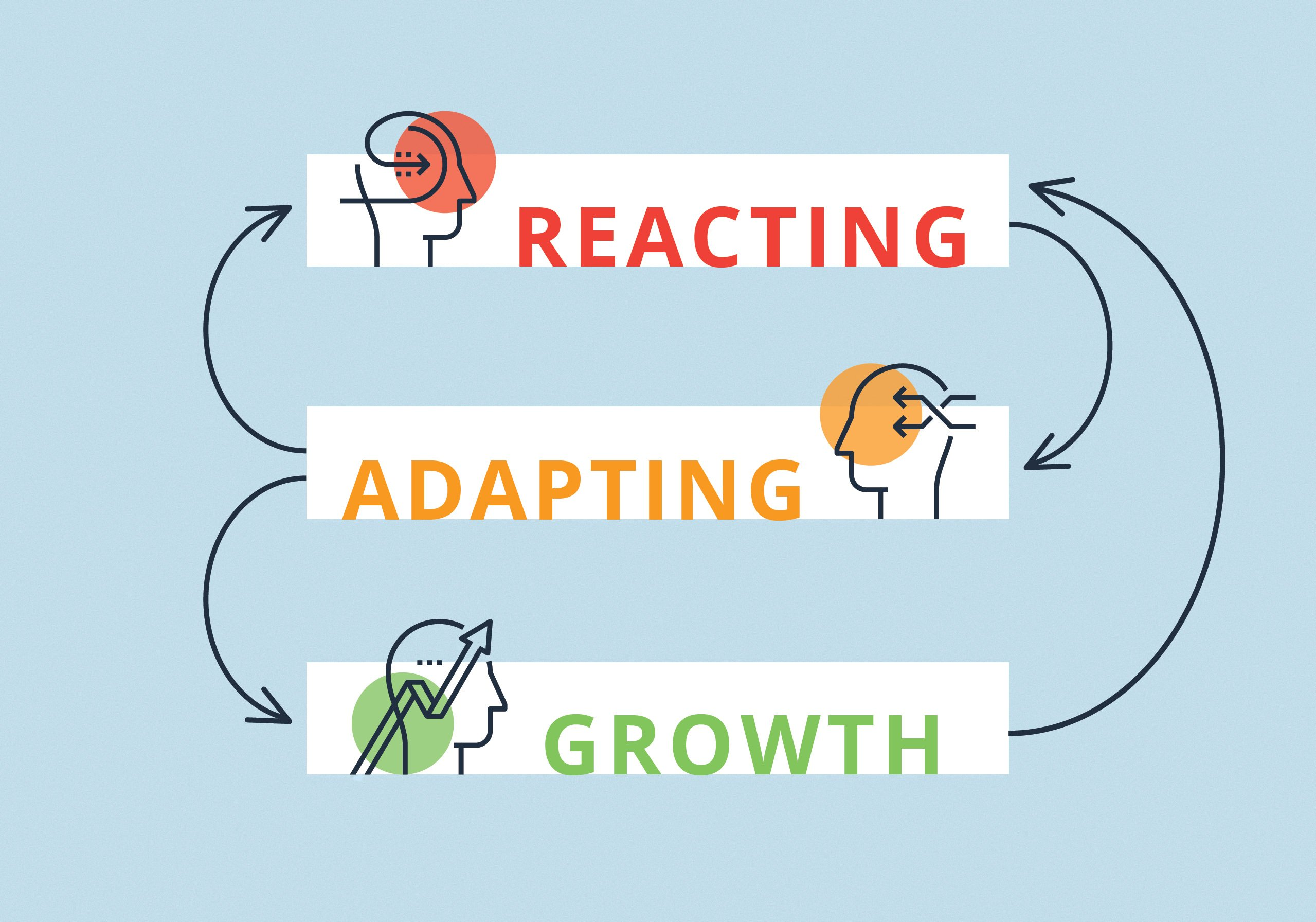 The words Reacting Adapting Growth with arrows connecting them.