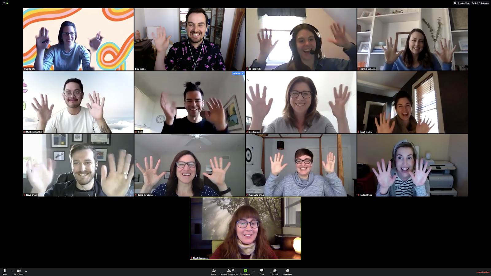 A group of Overlappers on a video conference call with their hands raised.