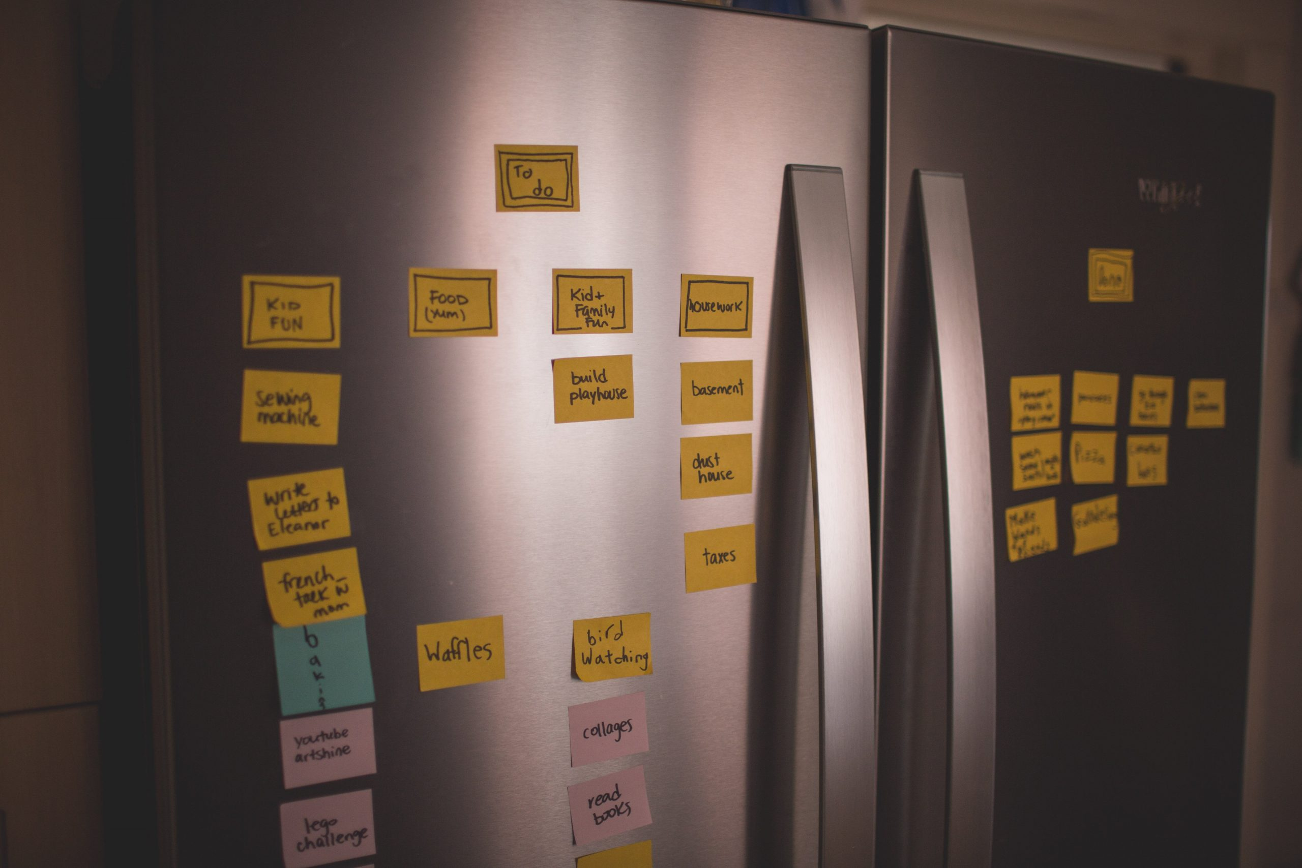 A fridge with post-it notes on it, listing tasks for a family