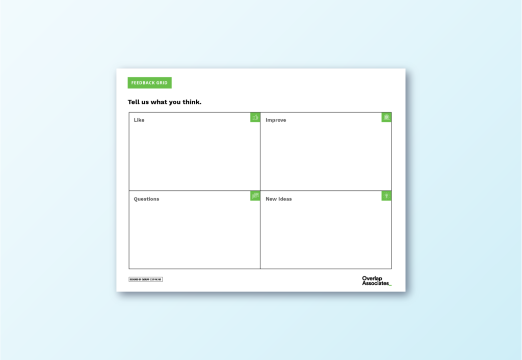 feedback grid for collective feedback from a user